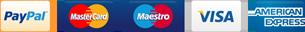 PayPal, Mastercard, Maestro, Visa, American Express